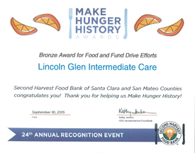 Second Harvest Food Bank of Santa Clara and San Mateo Counties honors Lincoln Glen Food Drive Results