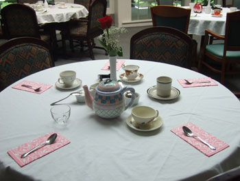 Tables set for Mother's Day tea